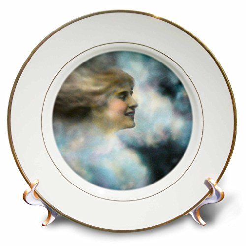 3dRose Scenes from the Past Magic Lantern Slides - Antique Edwardian Colored Slide Womans Face In the Clouds 1910 - 8 inch Porcelain Plate (cp_270035_1)