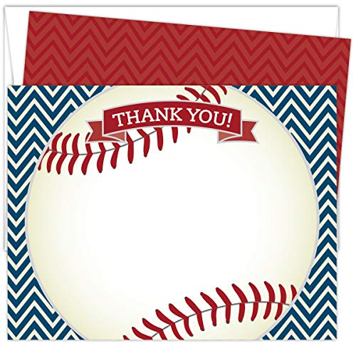 "Baseball Thank You Cards. Set of 25 5.5"" x 4.25"" Red and Navy Flat Note Cards and A2 White Envelopes. Printed on Heavy Card Stock."
