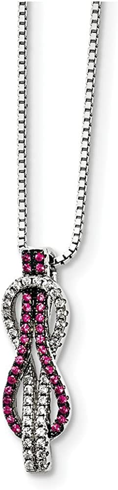 Lex /& Lu Sterling Silver CZ Brilliant Embers Love Knot Necklace 18
