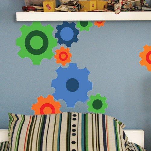 Create-A-Mural Fun Gears Wall Decals ~Peel & Stick Sticker for Boys Wall Decor