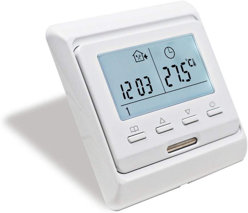 KETOTEK Programmierbar Thermostat mit fühler AC 230V 16A Elektrische Fußbodenheizung LCD Digital Raumthermostat Manuell Temperaturregler...
