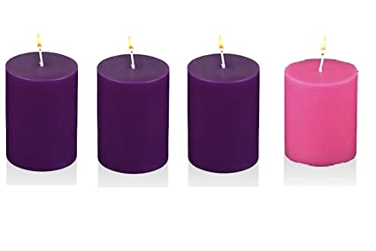 mister candle advent pillar candles hand made solid color 3 purple 1