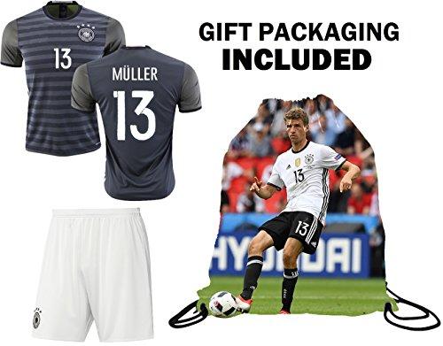 Fan Kitbag Muller #13 Germany Youth Home/Away Soccer Jersey & Shorts Kids Premium Gift Kitbag ✮ BONUS Muller #13 Drawstring Backpack (Youth Medium 8-10 years, Away Short Sleeve)