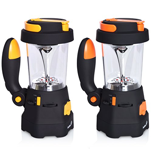 Ivation Hand Crank LED Camping Lantern with Flashlight, SOS Siren & Light, AM/FM Radio & Emergency Mobile Device Charger