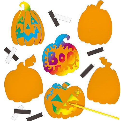 Pumpkin Scratch Art Magnets for Children to Create Halloween & Thanksgiving Decorations (Pack of 12)