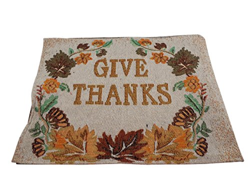 Fall ''Give Thanks'' Placemats - Set of 4 - Tapestry with Gold Block Lettering - 13 x 19 Inches by Home Concepts