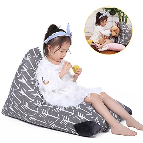 Chair Arrow (Kids Comfy Chair Cover Soft Toy Bag Comfortable Seating Best Creative Option Storage Solution Perfect Storage In The Bedroom (COVER ONLY) - Gray with White Arrows, Fits 100L/26 Gal)