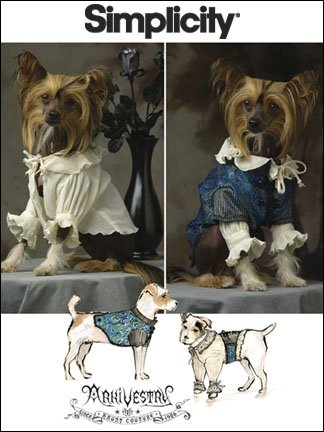 Simplicity Costume Patterns For Dogs (Simplicity 2759 Sew Pattern DOG COSTUME / CLOTHES Victorian Style Size XS, S, M)