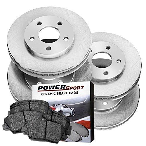 Fit 2005-2007 Ford Focus Rear PowerSport Drilled Brake Rotors+Ceramic Brake Pads