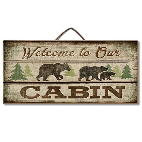 (Highland Graphics Bear and Lodge Decor Wood Sign Reads