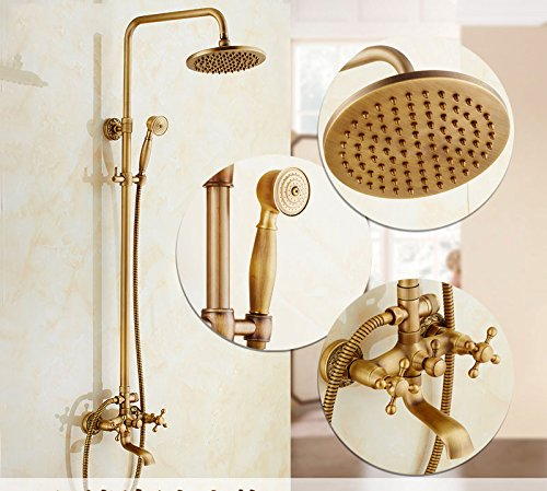 A GFEI Antique shower   European style all copper shower set   hot and cold faucet waterfall shower in the rain,A