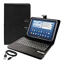 kwmobile case with QWERTY keyboard for Samsung Galaxy Note 10.1 with support - imitation leather tablet protective case in black