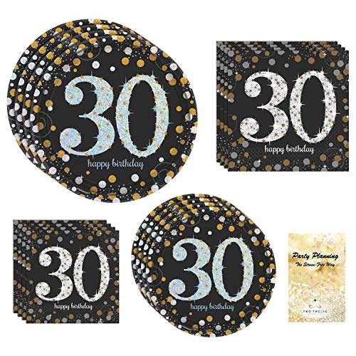 30th Birthday Party Supply Pack! - Sparkling Celebration Design - Disposable Dinnerware - 16 Guests - Includes Dinner Plates, Dessert Plates and -