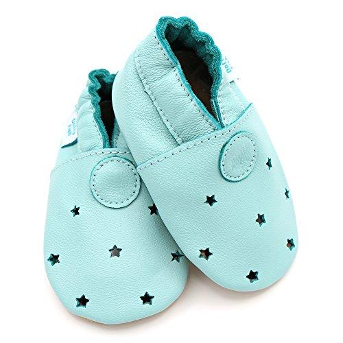 Dotty Fish Weiche Baby und Kleinkind Lederschuhe - Jungen und Mädchen - Sterne Blau Sterne