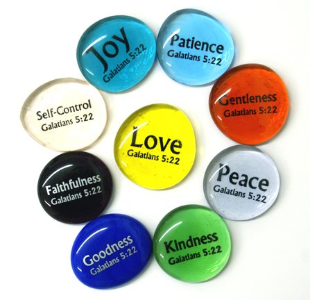 Fruit of the Spirit Glass Stones, Set of 9