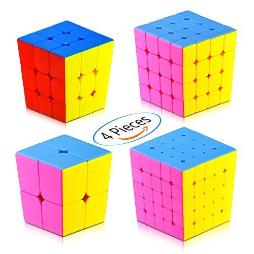 Speed Cube Puzzle Pack | 2x2 3x3 4x4 5x5 Stickerless Cube Set | 4 Pieces Magic Cubes Collection | Puzzle Toys Brain Teaser Gifts (Magic Rubiks Cube)