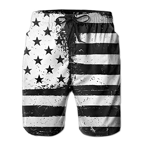 Mens Stars And Stripes Usa Flag Vector Casual Quick Dry Beach Shorts Bathing Suits Skull Swim Trunks