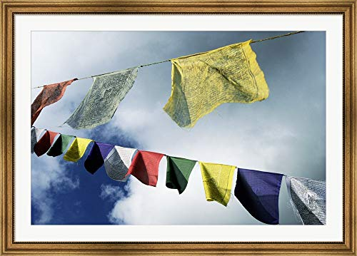 Low Angle View of Prayer Flags, Kathmandu, Nepal Framed Art Print Wall Picture, Wide Gold Frame, 49 x 35 inches