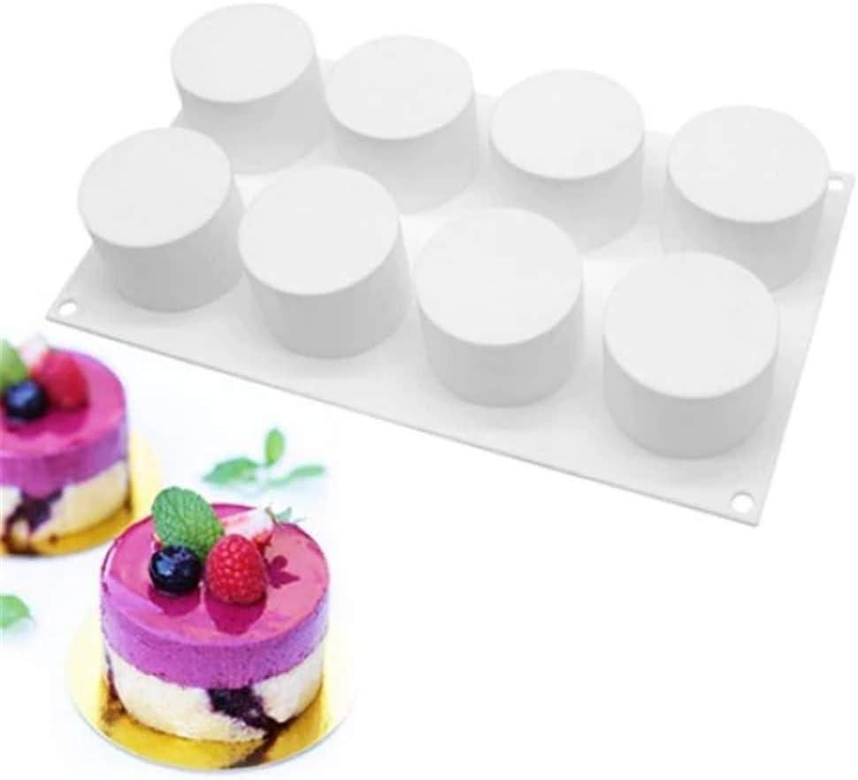 DUBENS 8 L/öcher Zylinder Mousse-Kuchenform Silikon backformen Rund Brotbackform f/ür Kuchen 3D backform DIY Dessert Mould
