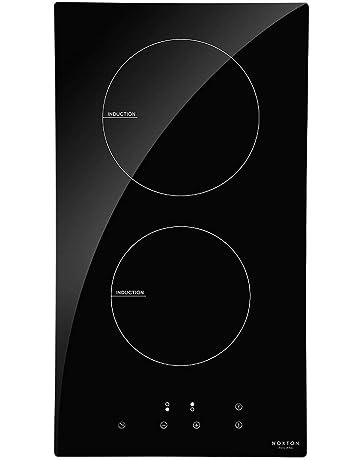 NOXTON Placas de Inducción Vidrio Negro Cocina eléctrica integrada de 2 Fuegos Domino con Control táctil