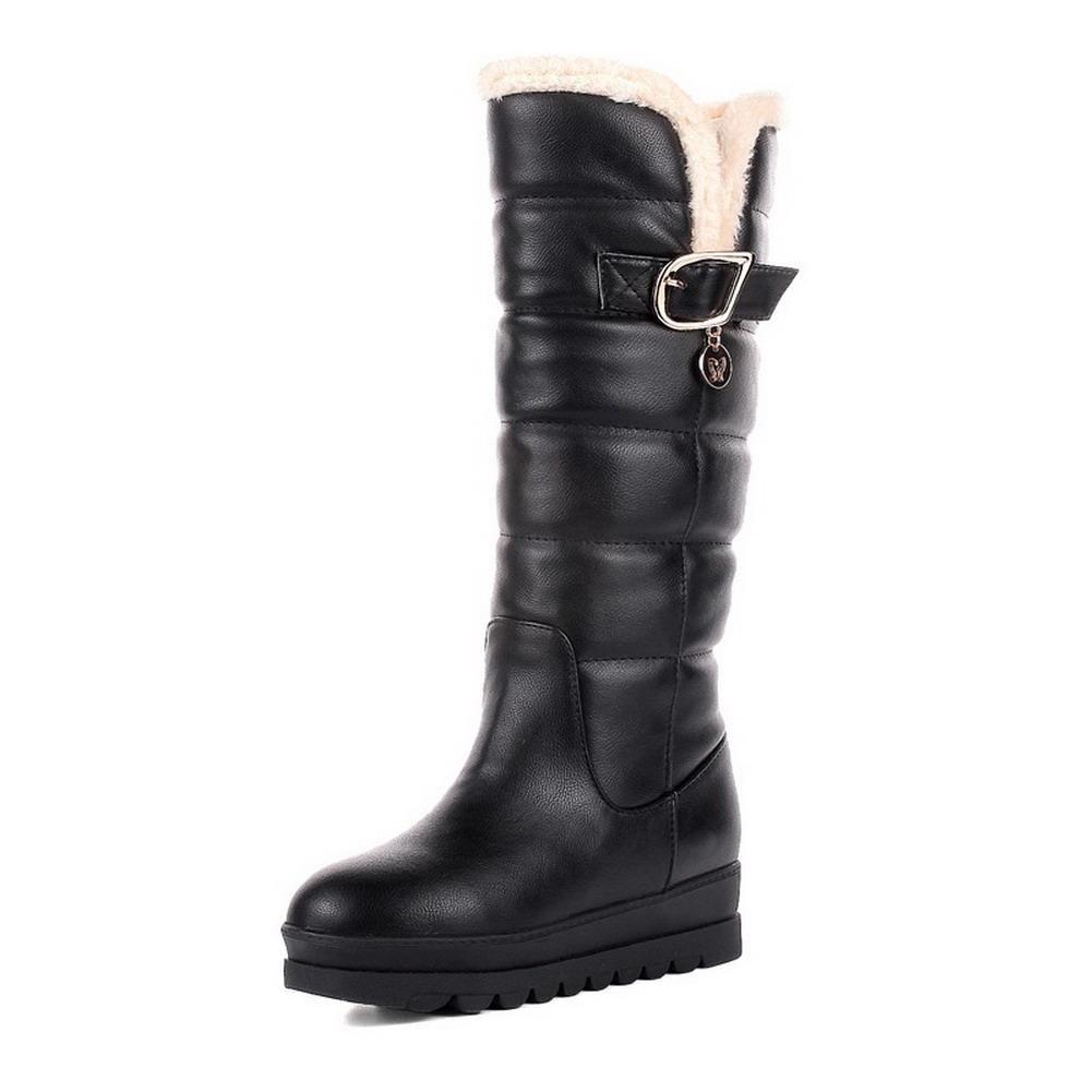 AalarDom Women's Low Heels Mid Top Solid Pull On Boots, Black, 37 by AalarDom
