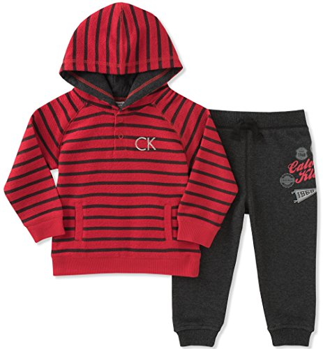 (Calvin Klein Baby Boys' 2 Pc French Terry Hoodie Sets, red/Black, 3-6 Months)
