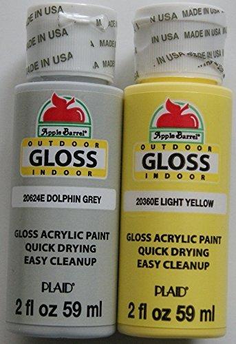 Apple Barrel Acrylic Paint Outdoor Indoor Gloss Set - Yellow and Grey (2 Ounces Each) -  Plaid Enterprises Inc, 12123046031