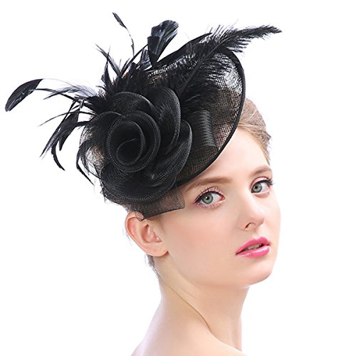 Lady Kentucky Derby Church Hat Fascinator Feather Mesh