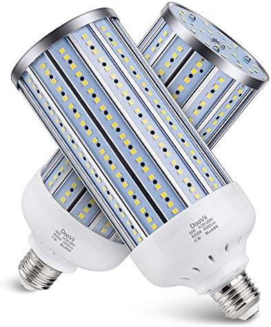 2-Pack DooVii 500W Equivalent LED Corn Bulb,5500 Lumen 6000K,Cool Daylight LED Street and Area Light,E26/E27 Medium Base,for Outdoor Indoor Garage Warehouse High Bay Barn Backyard and More