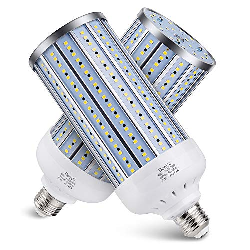 2-Pack DooVii 450W Equivalent LED Corn Bulb,5500 Lumen 6000K,Cool Daylight LED Street and Area Light,E26/E27 Medium Base,for Outdoor Indoor Garage Warehouse High Bay Barn Backyard and More (Pew Cost Church)