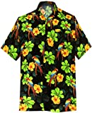 LA LEELA Likre Pocket Vintage Hawaiian Shirt Black 199 5XL | Chest 66'' -68''