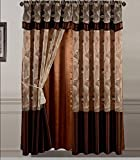 Golden Linens 2 Pieces Embroidery Rod Pocket Window Curtains/ drape/ panels/ treatment with attached Valances and Liner Backing (Coffee)
