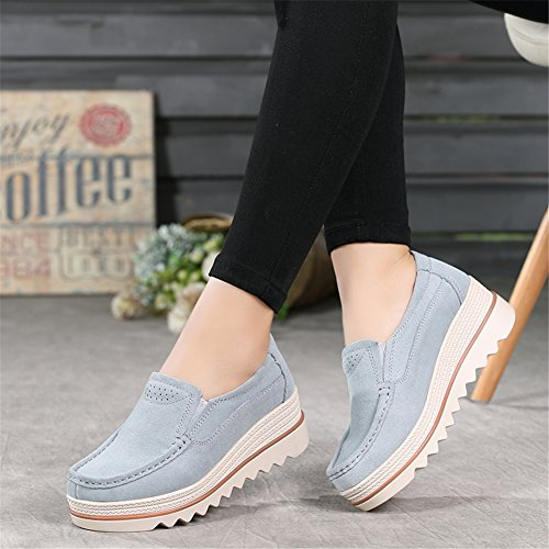 Women HKR Wedge Loafers Wide Comfort On Platform Top Grey Suede Moccasins Low Shoes Slip dqw6rPWZq