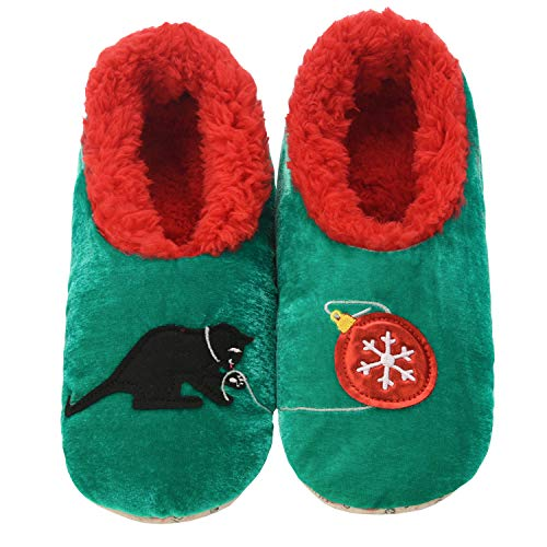 Snoozies Pairables Womens Slippers - House Slippers - Cat & Xmas - Medium