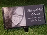 Granite Stone and Stand Marker Personalized with Picture of Choice/Text of Choice Animal or Person Human Temporary Marker Family Laser Engraved Grave Site Cemetery Gravestone Yard Plaque For Sale
