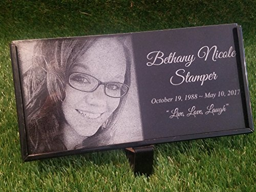Granite Stone and Stand Marker Personalized with Picture of Choice/Text of Choice Animal or Person Human Temporary Marker Family Laser Engraved Grave Site Cemetery Gravestone Yard Plaque