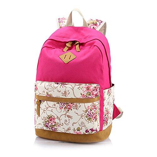 Mujeres y Chicas Adorable Lona Daypacks Ocasionales Florales Estudiante Universitario Mochila Escolar Carteras Entrepiso Especializada que Puede Contener Portátil de 14 Pulgadas rosa oscura