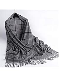 nwn Double-Sided Plaid Scarf Female Winter Korean Version of Cashmere Soft Shawl Thick Warm (Color : D)