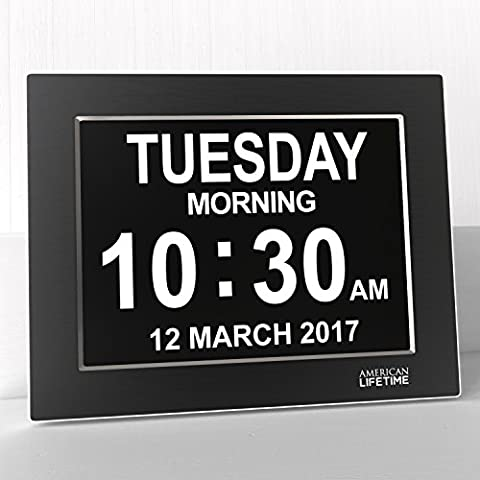 Premium Version - Day Clock - Extra Large Impaired Vision Digital Clock with Battery Backup & 5 Alarm Options (Limited Edition Black Polished Metal (Kitchen Digital Clock)