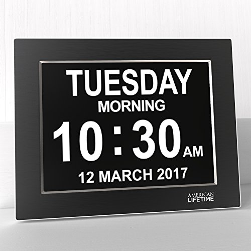 Premium Version - Day Clock - Extra Large Impaired Vision Digital Clock with Battery Backup & 5 Alarm Options (Limited Edition Black Polished Metal Frame)