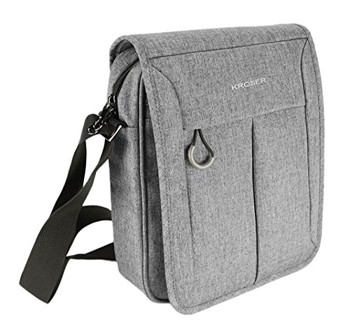 KROSER Flapover Laptop Messenger Bag 11 inch Water-Repellent Business Shoulder Briefcase with Strap Buckle and Handle for Women/Men-LightGrey (Flap Pocket Briefcase)