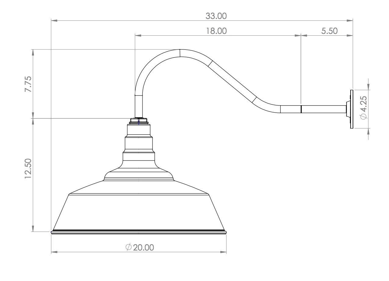 Large Gooseneck Barn Light | The Redondo Standard Warehouse Steel Dome on a Gooseneck | Modern Farmhouse Barn Lighting Made in America (23'' Gooseneck, Matte Black) by Steel Lighting Co. (Image #4)