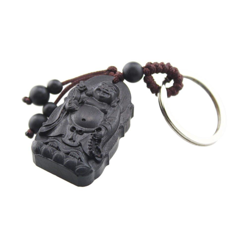 FOY-MALL Maitreya Ebony Wood Carving Men Women Gift Key Chain for Good Luck M1096