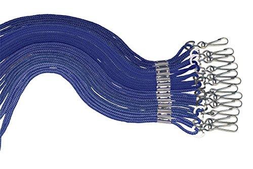 Sportime Braided Nylon Lanyards - Pack of 12 - Blue Blue Nylon Lanyard