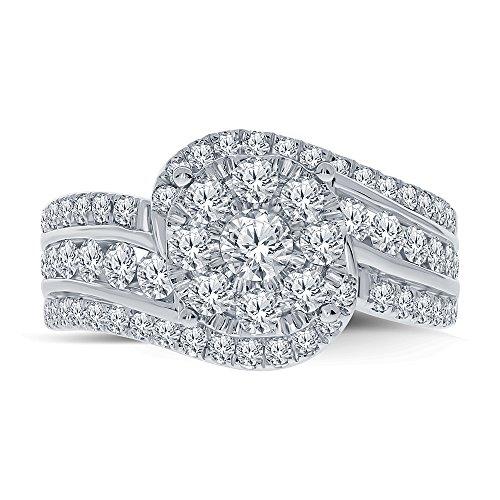 Real Diamond Engagement Ring 14K White Gold 1.65 TCW Center .16 Carat Diamond Ring Fine Diamond Jewelry by Wholesale Diamonds (Image #3)