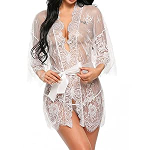 Avidlove Women's Sexy Lace Kimono Sexy Nightgown Transparent Mesh Lingerie Babydoll Dress Robe with Belt and G-String