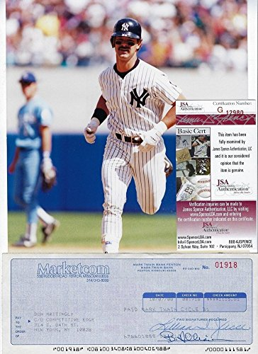 Autographed Mattingly Photo - Don Mattingly Autographed Signature Cancelled Check with 8x10 Photo - JSA Certified Authentic