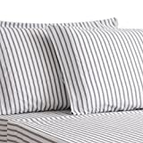 HONEYMOON HOME FASHIONS Queen Sheet Set Cotton Quality Dimension Yarn - Dyed Grey Stripe