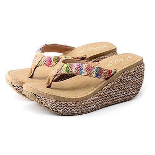 Tomwell Womens Sandals Slip On Platform Wedge Summer Rattan Woven Shoes Comfy Casual Shoes Fashion Beach Sweet T-Bar Flip Flops Beige GJjl9