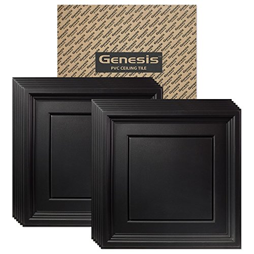 Genesis - Icon Coffer Black Ceiling Tile (Carton of 12) - Drop/Grid Ceiling - Fast and Easy Installation (2' x 2' Tile)